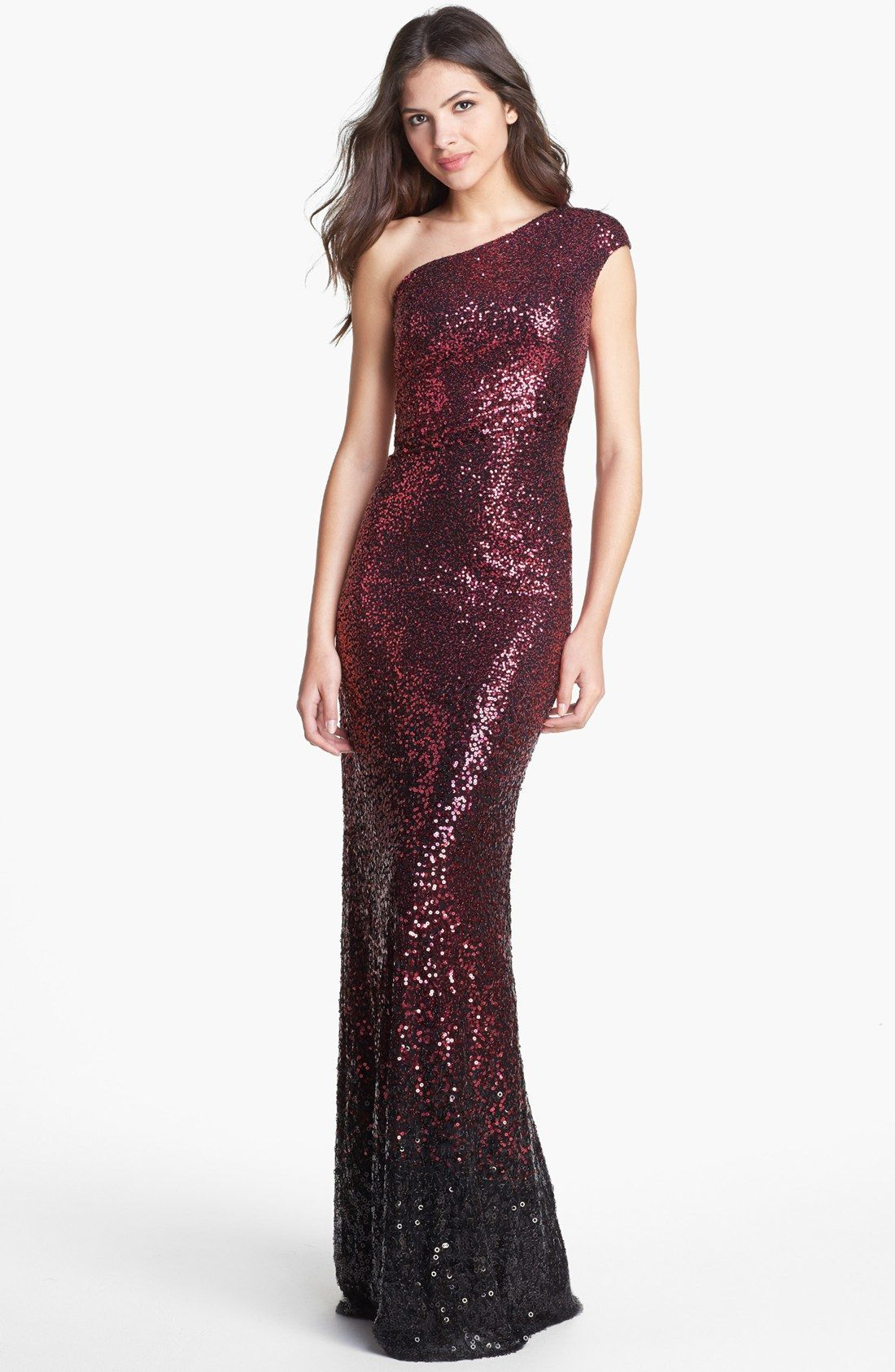 David Meister One Shoulder Ombré Sequin Gown in Purple (Black/ Red ...