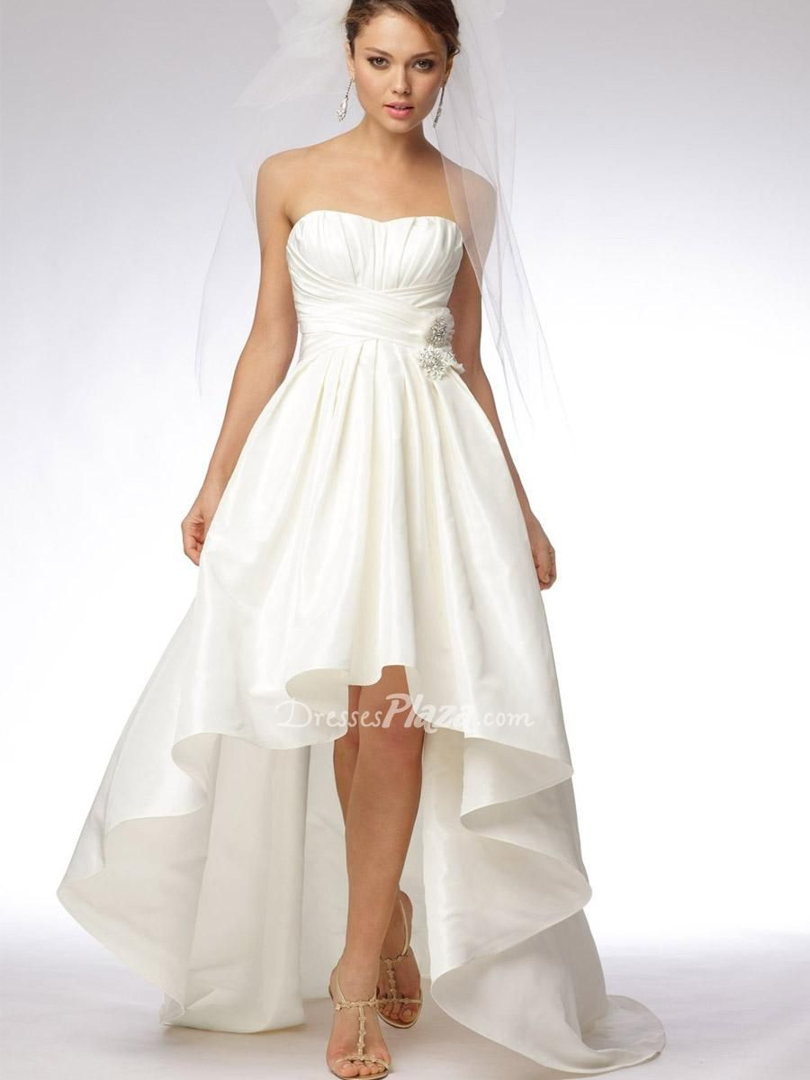 Pleated wedding dress  ivory taffeta high low strapless mini ball gown empire pockets