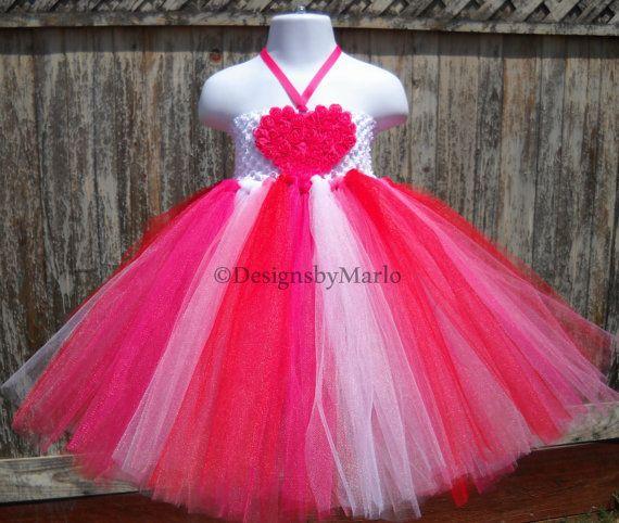 Hot pink tutu dress Pink heart tutu White tutu by Designsbymarlo, $44.50