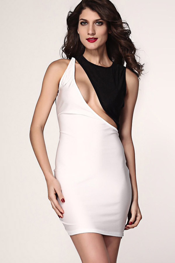 1d036481dd3 Black White Two Tone Cutout Bodycon Dress  20.99 This super sexy club dress  features round neck