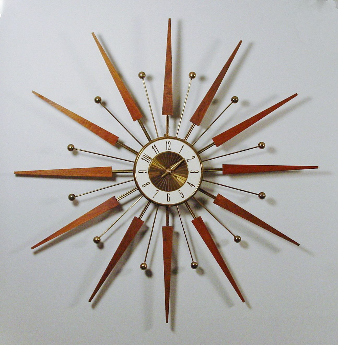 mid century modern starburst wall clock by elgin atomic design  - mid century modern starburst wall clock by elgin atomic design sscifi era of design teak rays