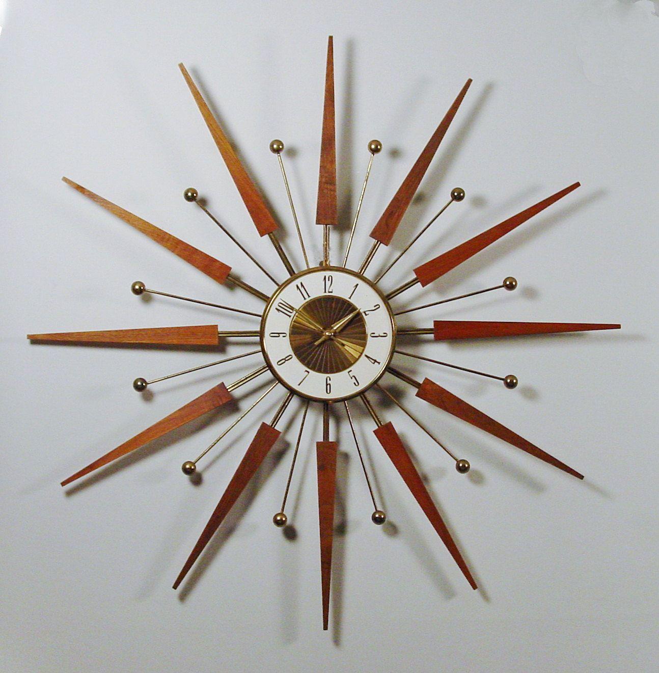 Mid Century Modern Starburst Wall Clock By Elgin Atomic Design 1960s Sci Fi Era Of Design Teak Rays Wall Clock Modern Mid Century Modern Wall Clock Mid Century Clock