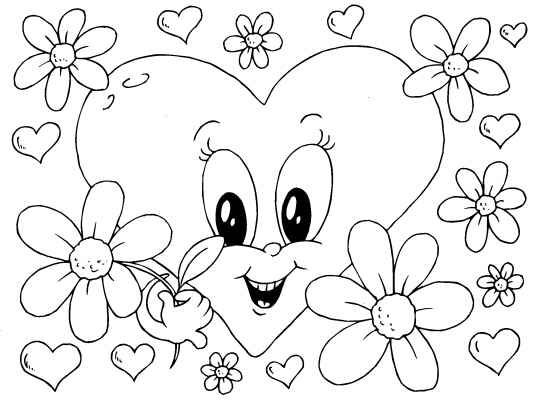 A cute Valentines Heart coloring page for you to color in for your - copy coloring pages to color free online