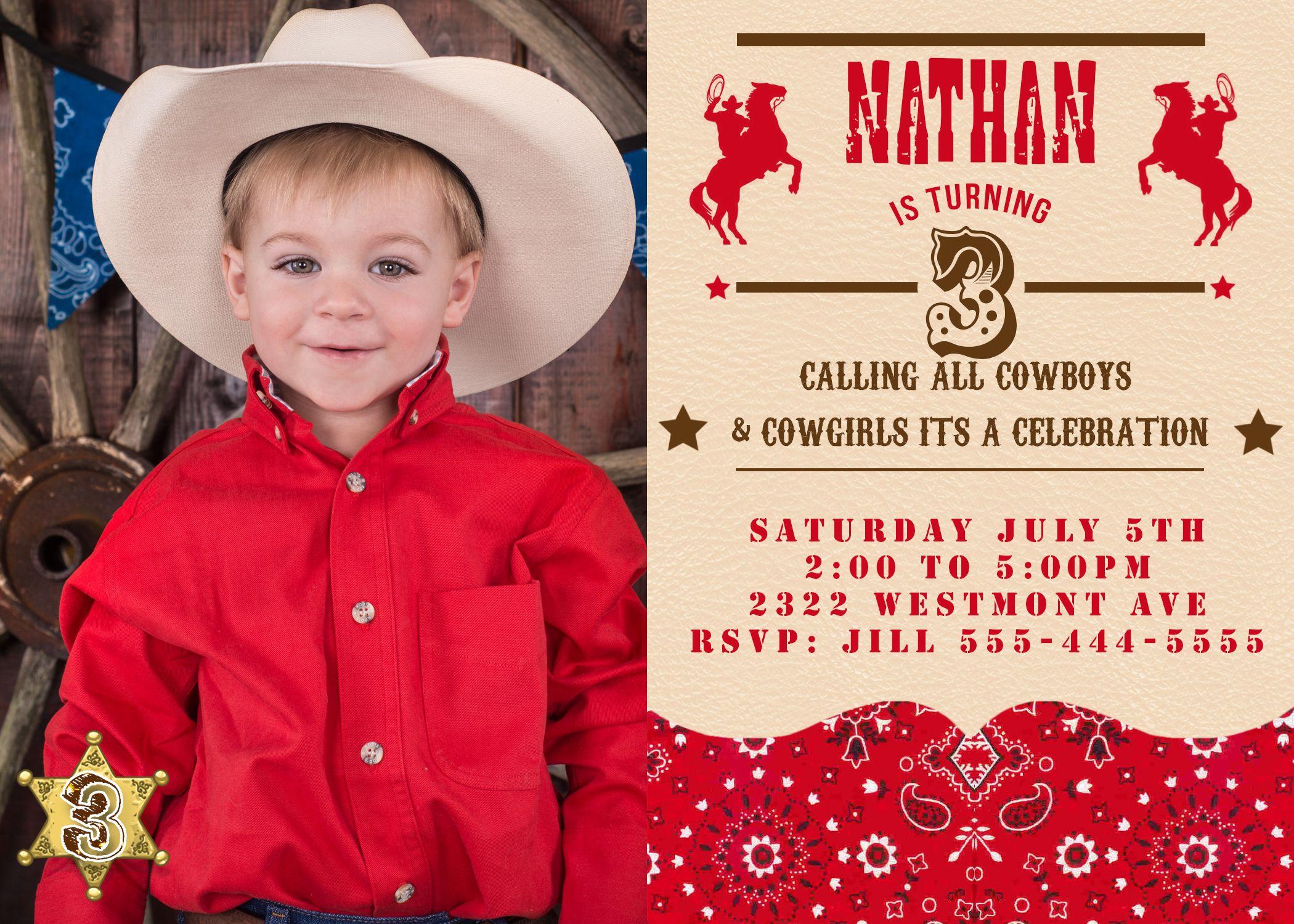 Cowboy Birthday Invitation Vintage Cowboy invite | Boy Birthday ...