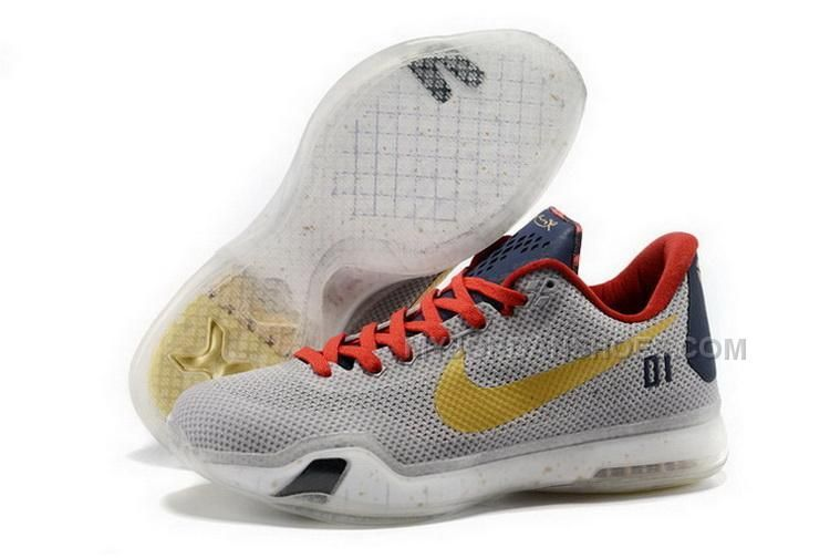 Buy Cheap Nike Kobe 10 2015 University of Connecticut Grey Gold Mens Shoes