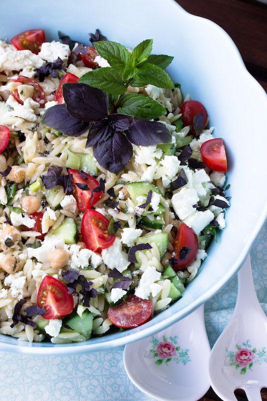Photo of Summer Kritharaki salad with chickpeas, mint and feta.