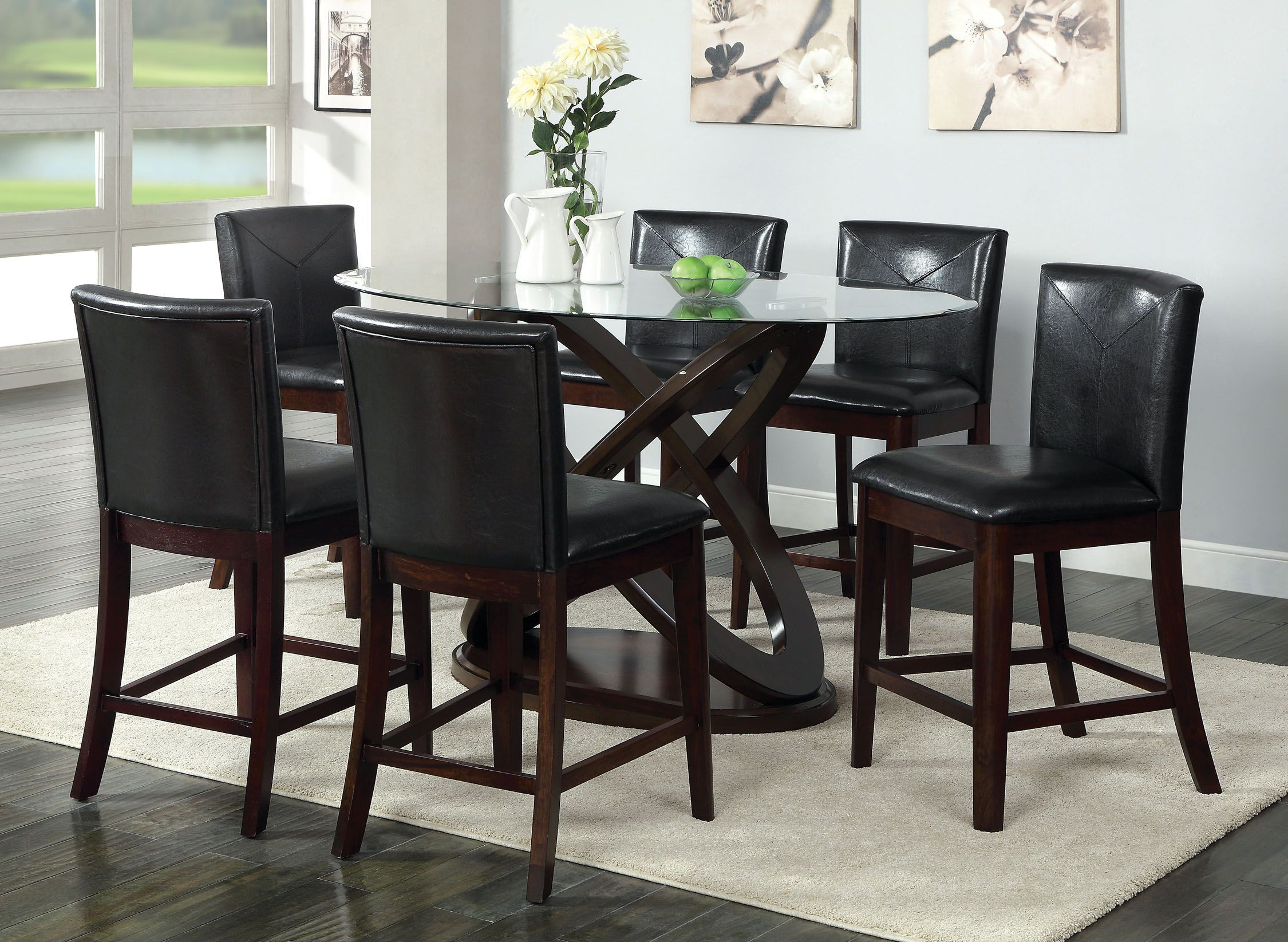 Counter Height Glass Dining Table