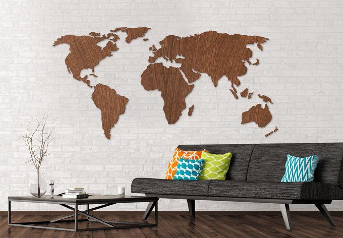 Www Wall Art De 3d weltkarte aus holz - mahagoni