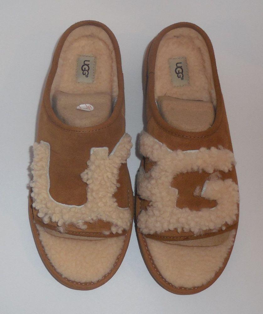 92d2d277f3 UGG Womens Size 9 Slide Tan Natural Slipper Sheepskin Logo Shoes New  1019730HBX  UGG  Slide