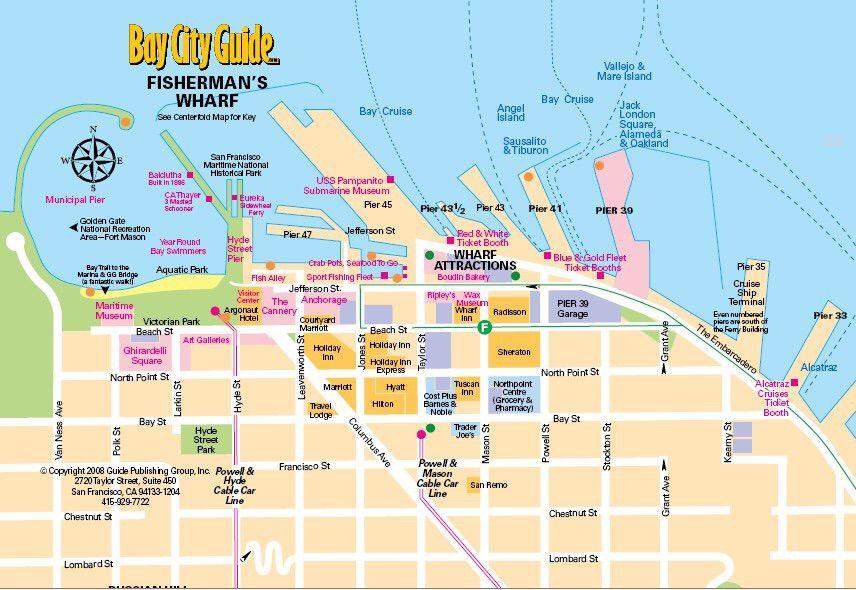 San Francisco CA Fishermans Wharf Map Anchorage Parking