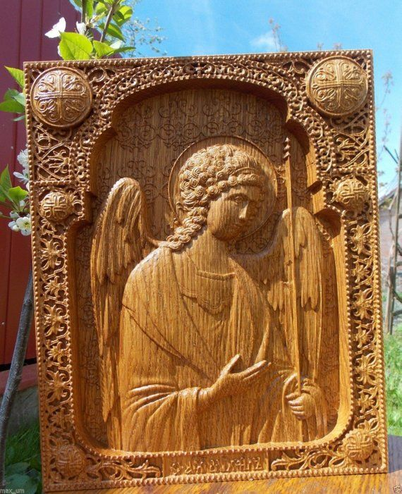 Archangel Michael Religious Icon Wood Carving Wall Christian Decor Personalized Gift FR
