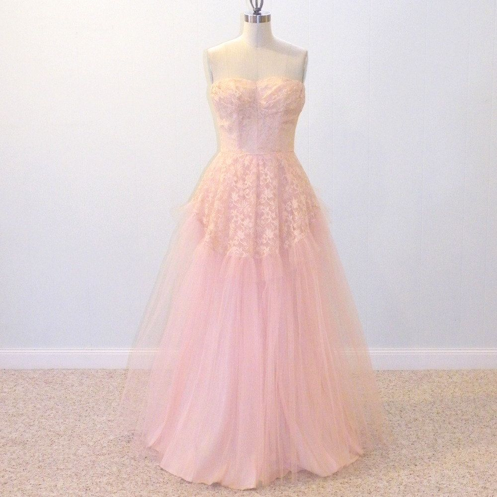 Vintage prom dress s strapless party dress pink tulle u floral