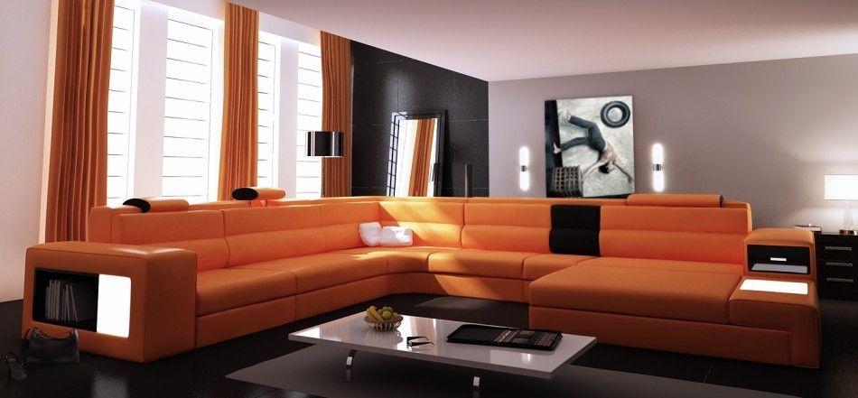 Polaris Orange Italian Leather Sectional Sofa Contemporary Leather Sofa Sectional Sofa Sectional Sofa Sale