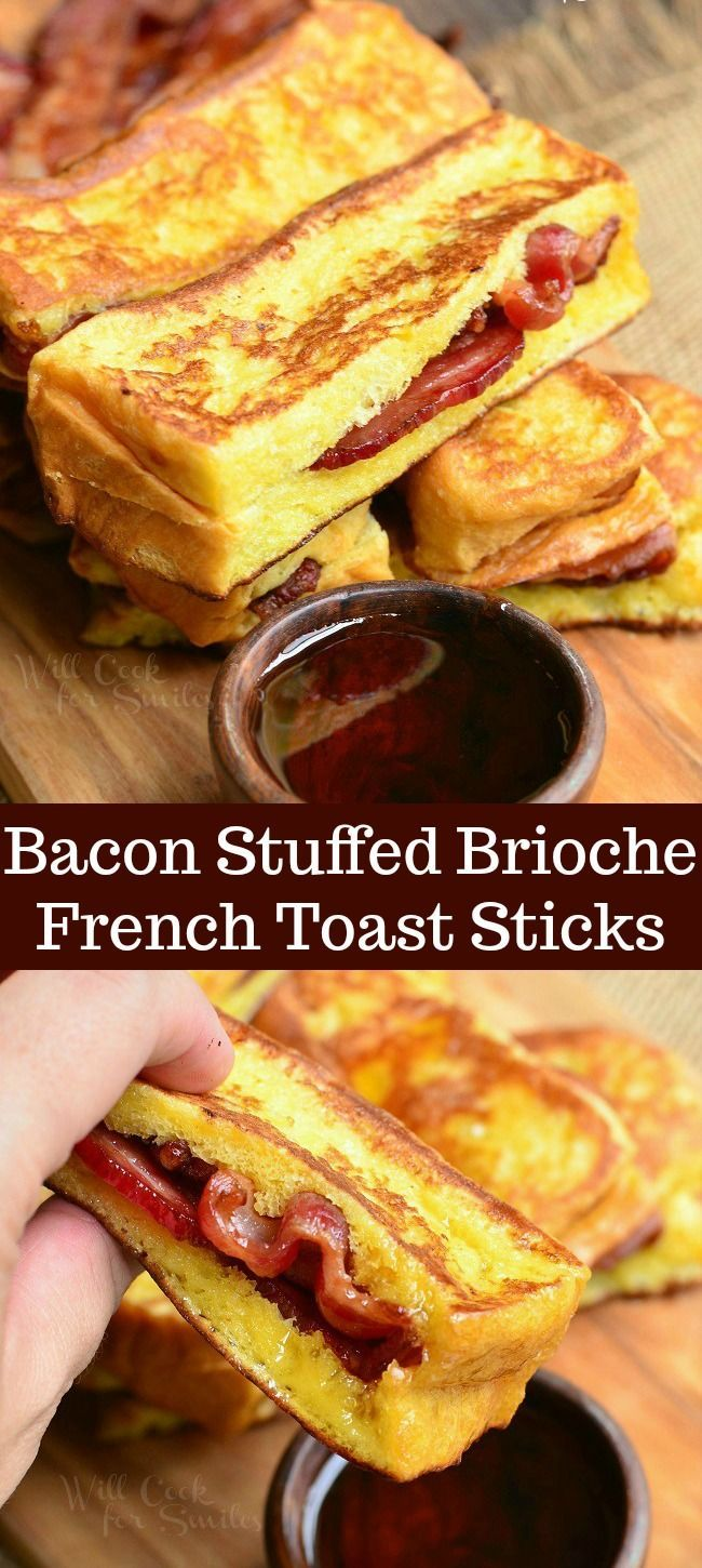 Stuffed French Toast made with Brioche bread and stuffed with crispy bacon. This delicious Stuffed French Toast is made into easy dippable sticks. French Toast made with Brioche bread and stuffed with crispy bacon. This delicious Stuffed French Toast is made into easy dippable sticks.