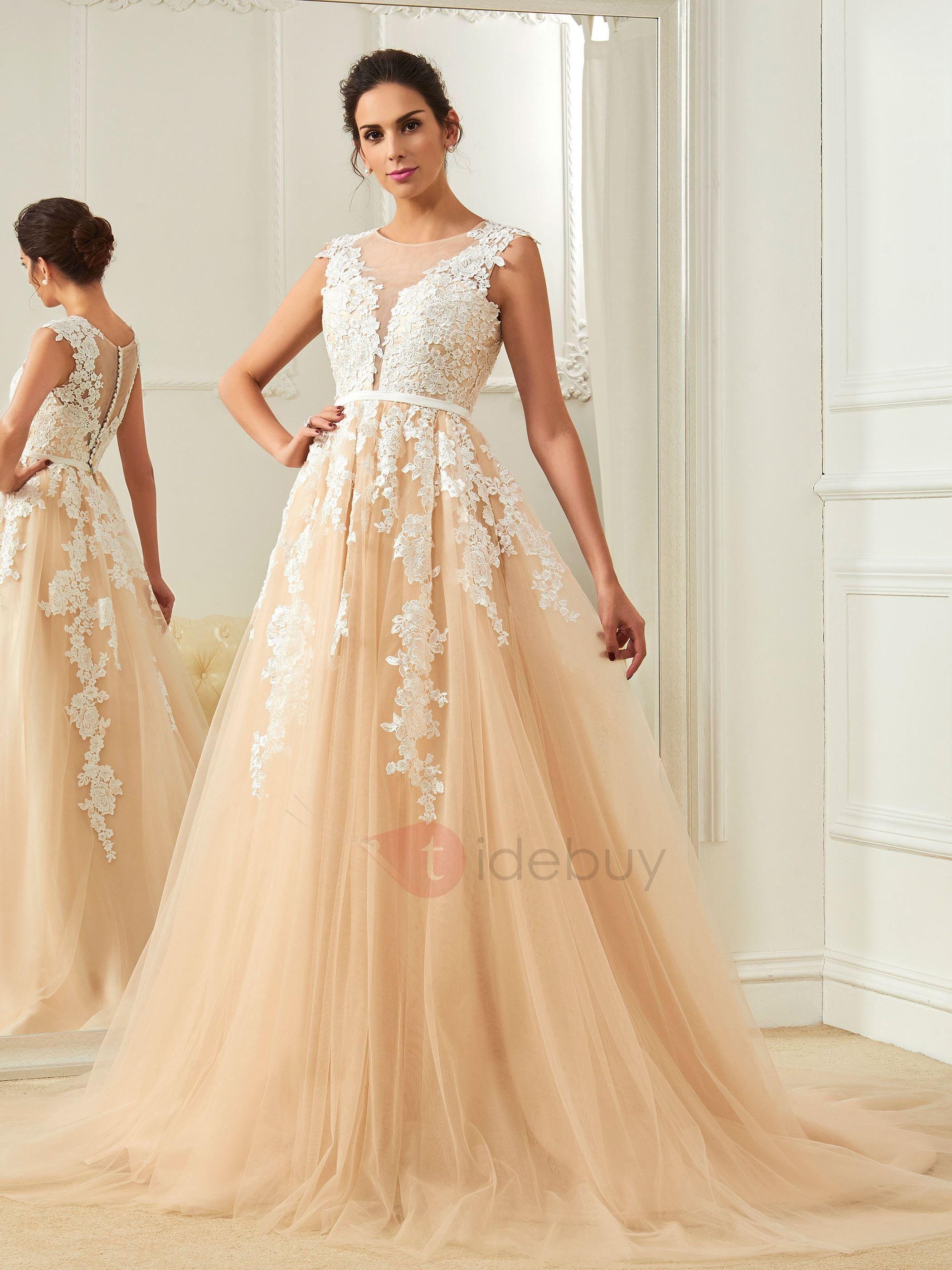 Amazing Scoop Appliques A Line Color Wedding Dress | Colors, We and ...