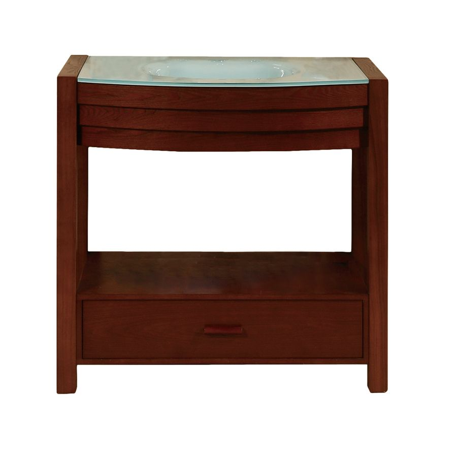 The Awesome Web Decolav Sag Harbour Walnut Undermount Single Sink Bathroom Vanity With Glass Top Common In X In Actual In X