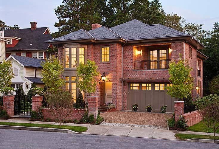 Front Elevation Bricks : Brick house dusk exterior facade elevation
