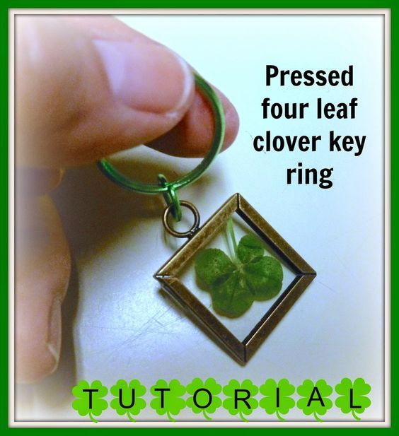 Pressed four leaf clover key ring (With images) | Clover ...