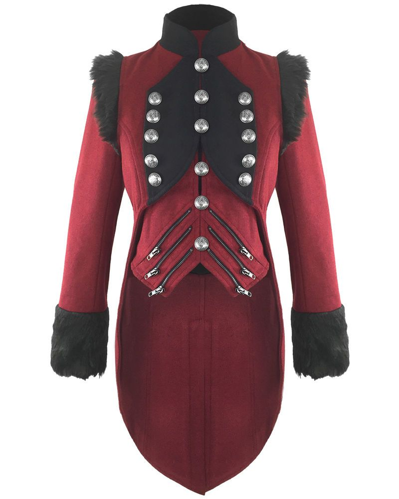 RQBL Womens Military Coat Jacket Red Black Tailcoat Gothic VTG ...