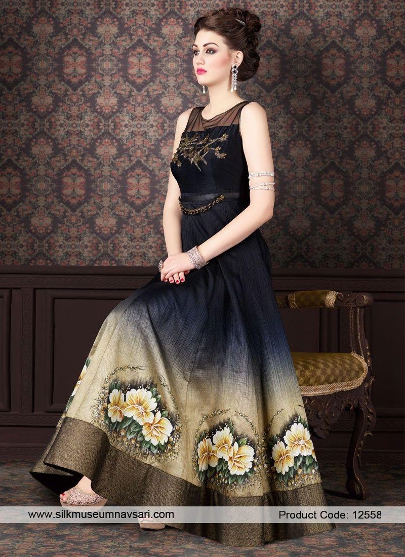 Spectacular Printed Chiffon Anarkali Suit