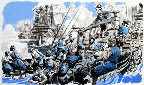 Aboard the Spanish Armada   Aboard the Spanish Armada An original painting depicting the harsh life aboard one of the ships of the Spanish Armada.  http://www.finelifeart.com/aboard-the-spanish-armada/