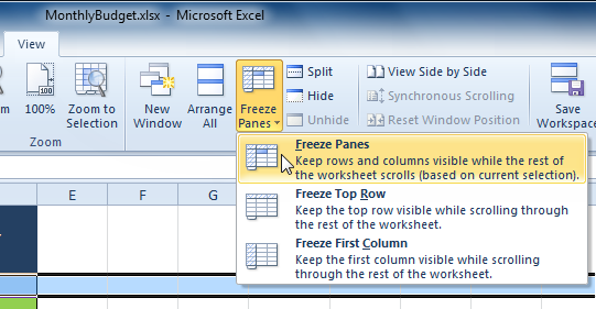 Selecting the Freeze Panes command from the View tab | Customer care ...