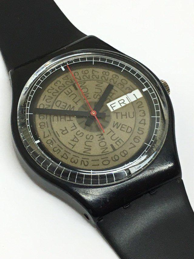 Vintage Swatch Watch Tickertape GB713 1988 Black Day Date Retro