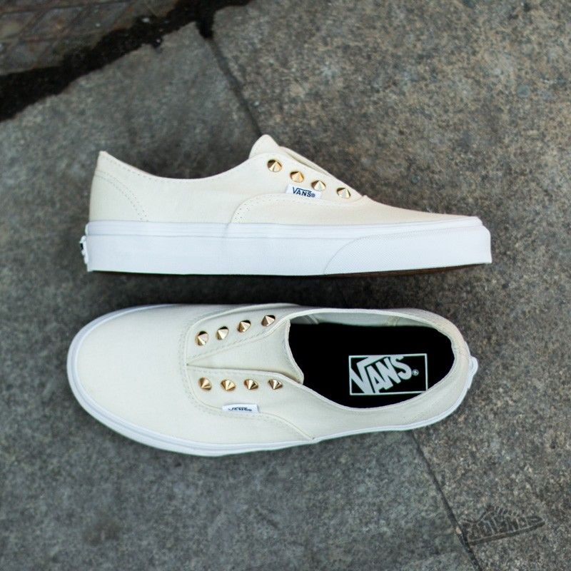vans authentic gore studs blanc leather slip-on chaussures