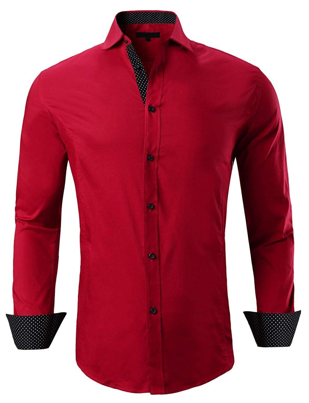 SHOWNO Men Long Sleeve Trendy with Velvet Warm Thicken Winter Button Down Blouse Shirt