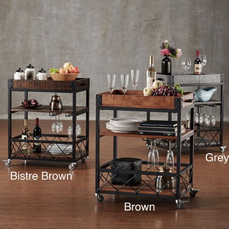 Mini Bar Cart On Wheels Small Kitchen Outdoor Serving Patio Mobile Wine  Glasses