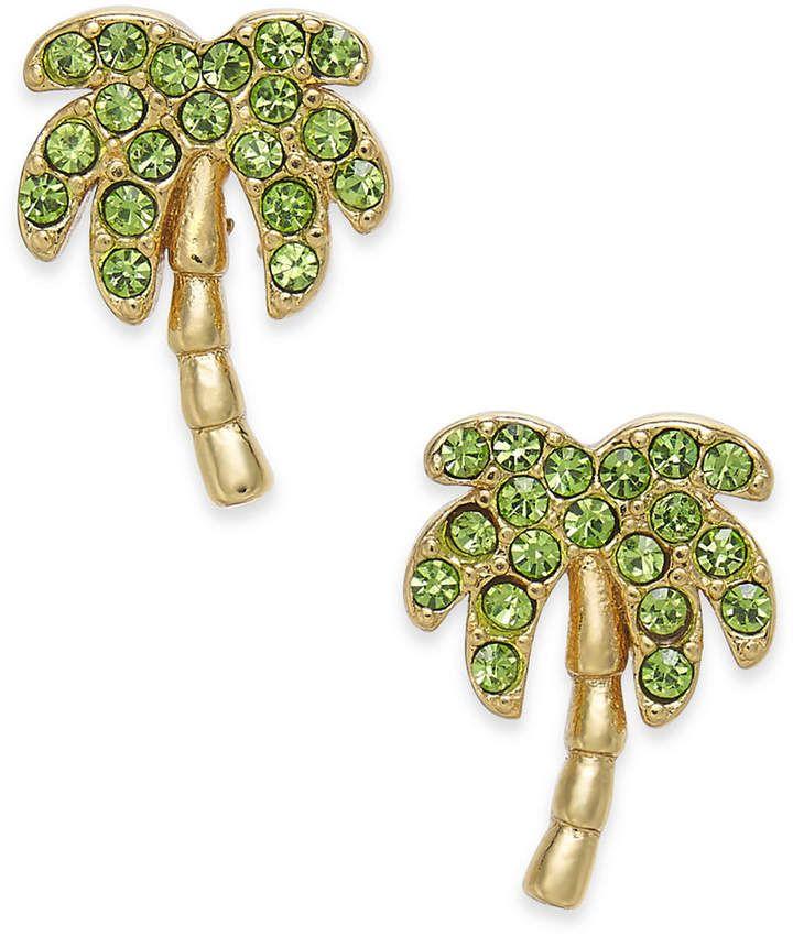 Kate Spade Gold Tone Pave Palm Tree Stud Earrings