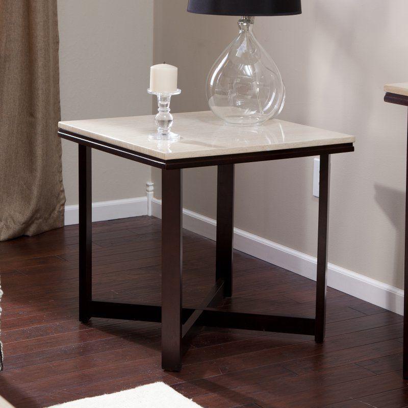 Avorio faux travertine square end table wsc187e
