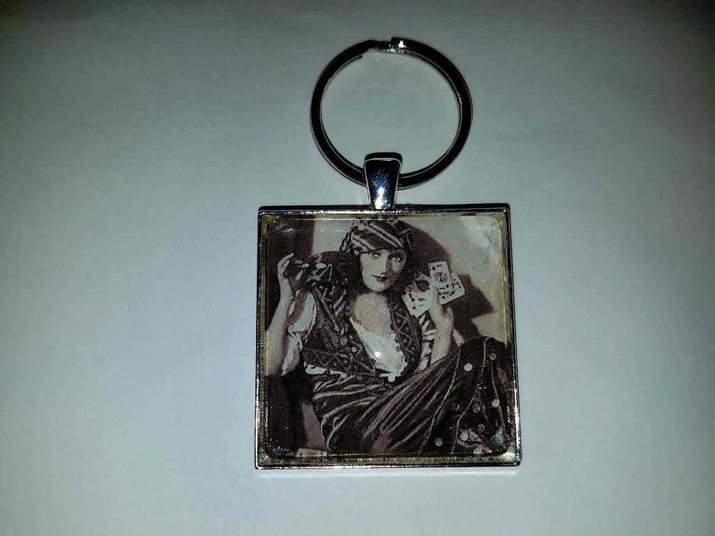 Queen of the Cards Cabochon Key Chain