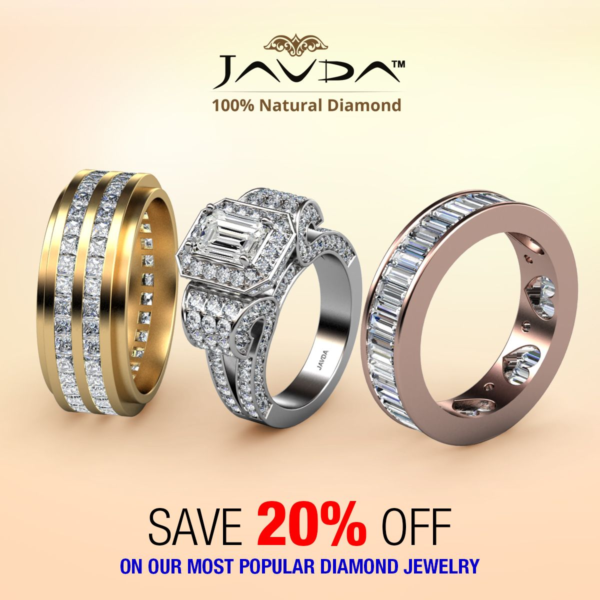 Just for you! Save 20% discount on diamond men's & women's wedding bands and engagement ring. #bride #engagementring #weddingband #womensaccessories #whitegold #diamond #weddingband #proposal #sparkle #luxury