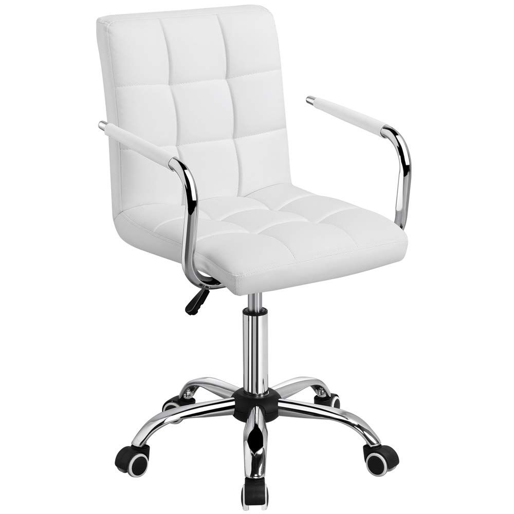 Yaheetech White Desk Chairs With Wheels Armrests Modern Pu Leather Office Chair Midback Adjus White Desk Chair No Wheels Stylish Office Chairs White Desk Chair