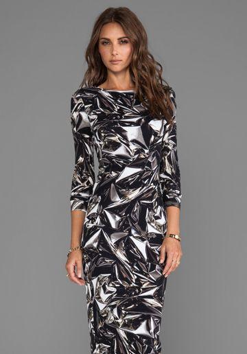 AQ/AQ Bree Long Sleeve Maxi Dress in Metallica Silver