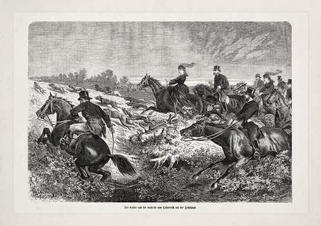 Empress Elisabeth and Emperor Franz Joseph fox hunting at Godollo
