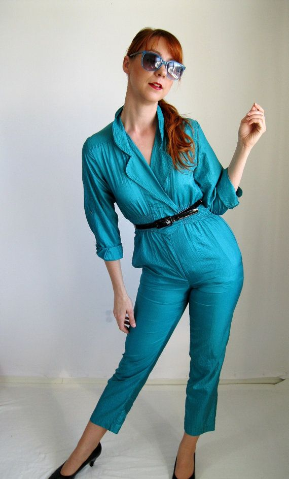 c738091bd59 80s Jumpsuit. Turquoise Aqua. Retro. Glam. Lady Gaga. Hipster. Spring  Fashion. Mod