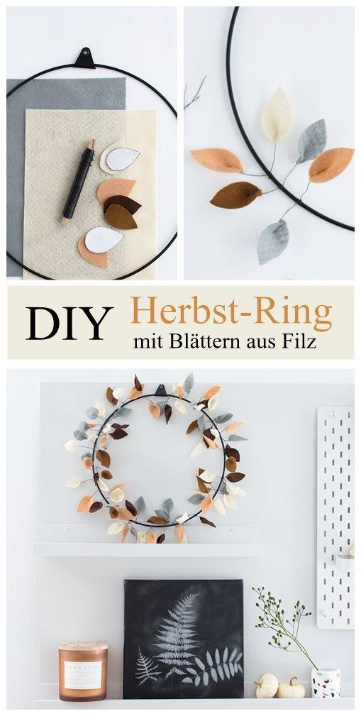 Photo of Bunter Herbst-Ring mit Blättern aus Filz