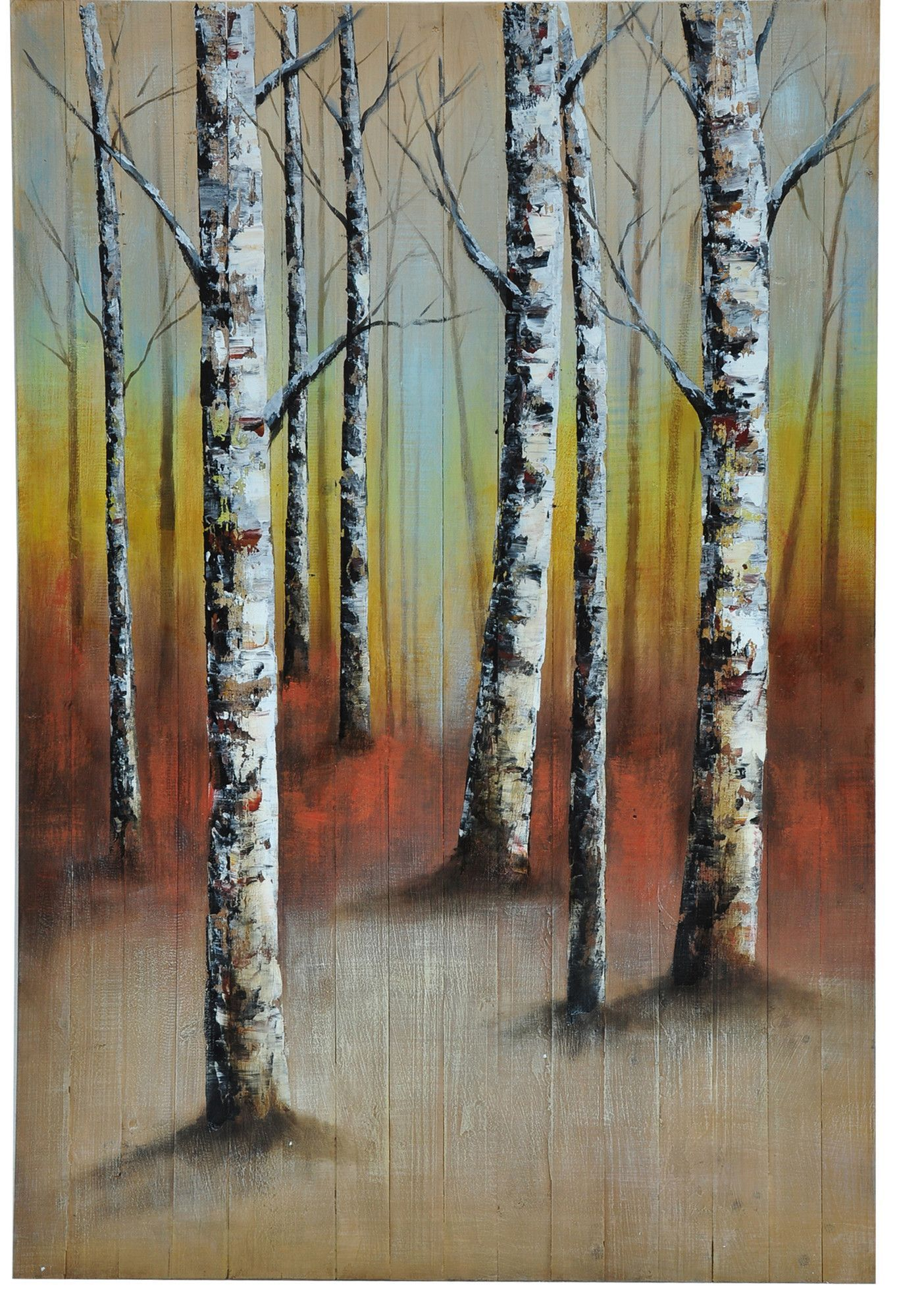 'Birch Dimension' Painting Print on Canvas