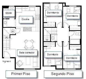 planos de casas de 2 pisos acotado