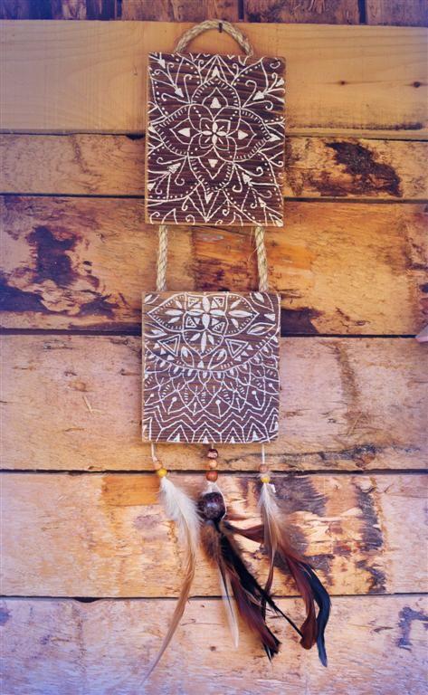 Eva Lubart - Décoration Murale Dreamcatcher - Mandala - Vieux Bois