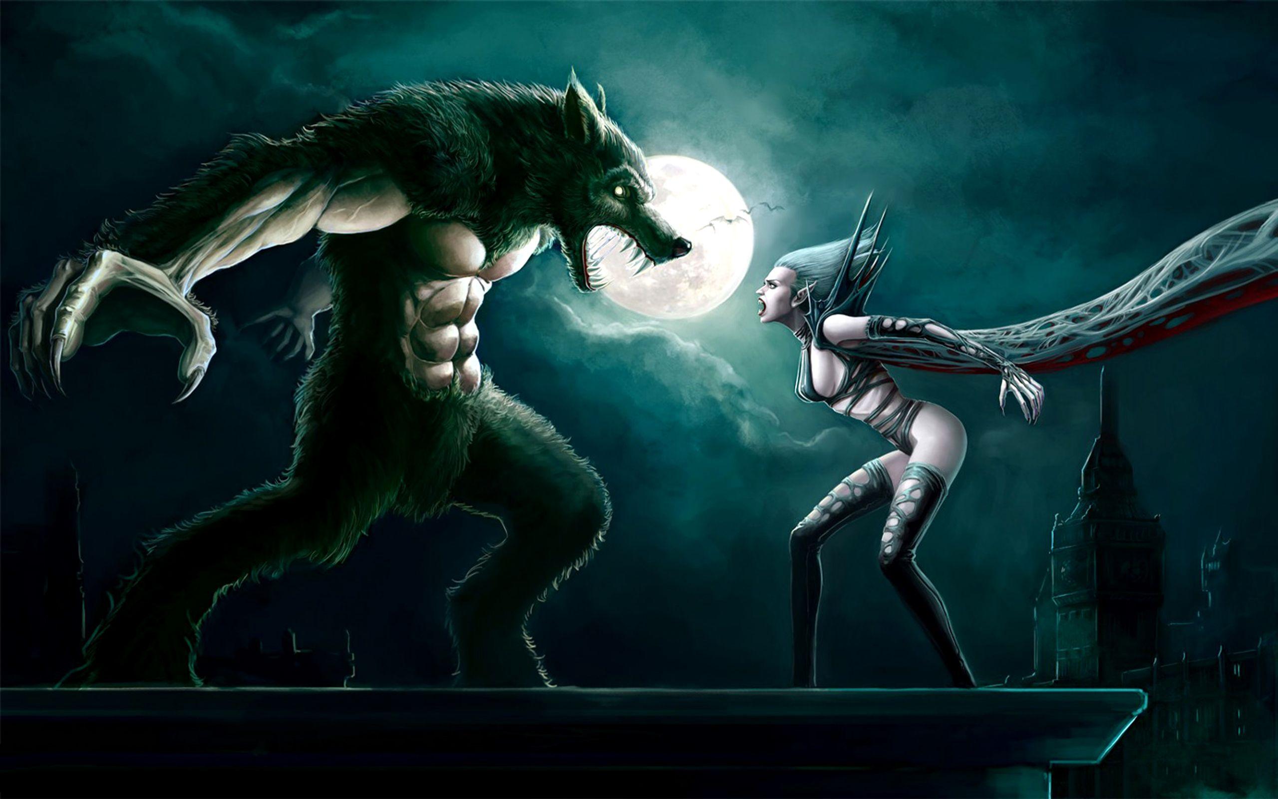 Female Lycan Dark Battle Vampire Werewolf Women Wallpaper