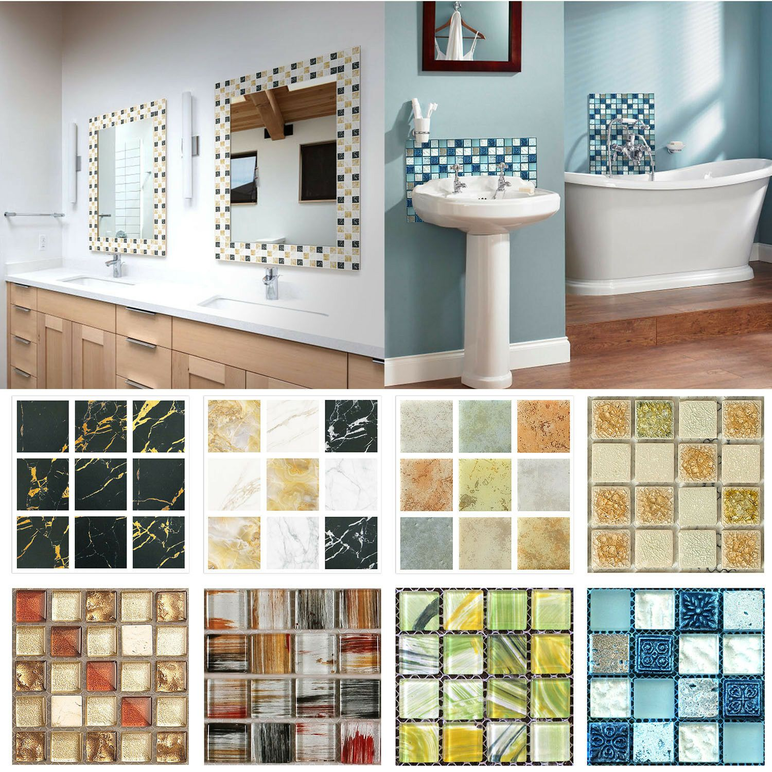 20pcs Set 3d Diy Waterproof Self Adhesive Wall Stickers Mosaic Tile Home Decal Wall Tiles Ideas Of Wall T