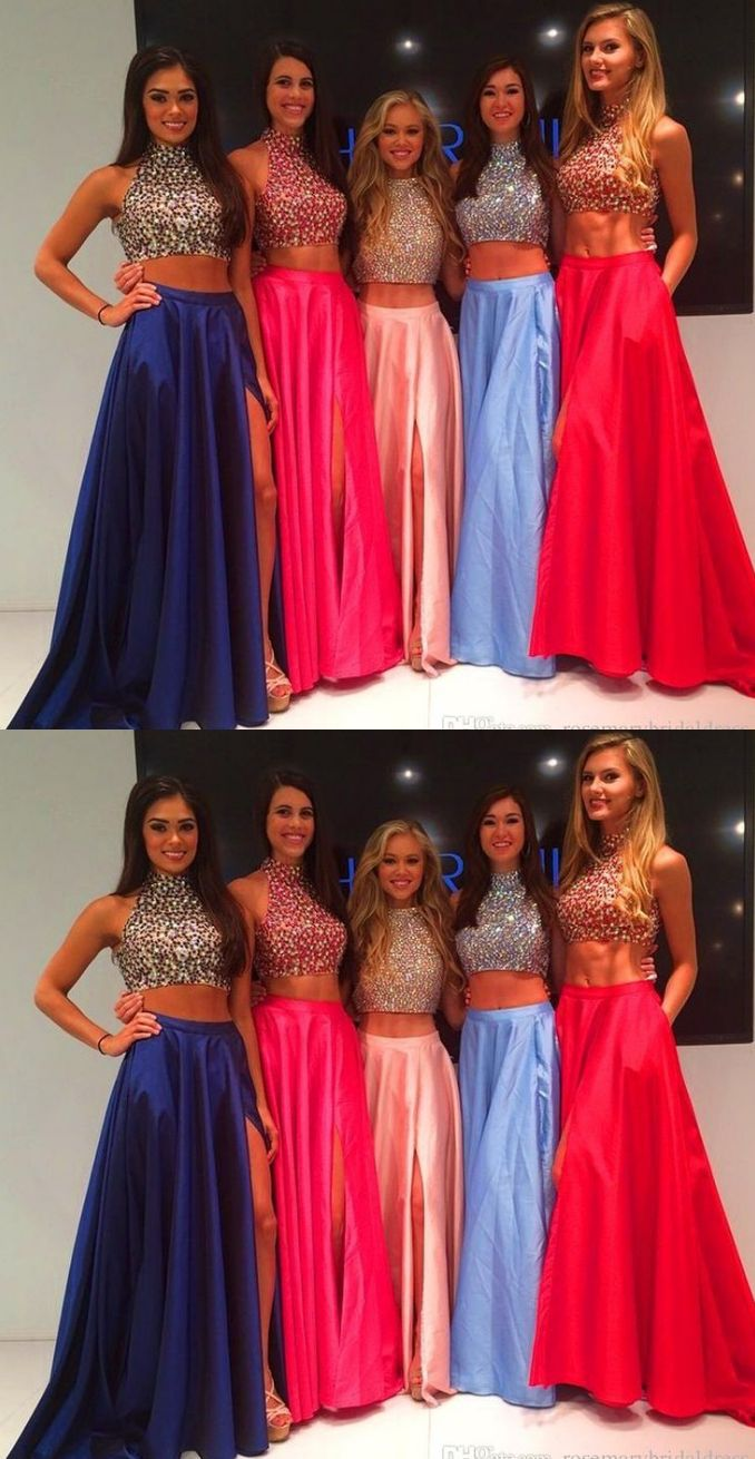 Pink prom dresses two piece evening dresses high neck two piece