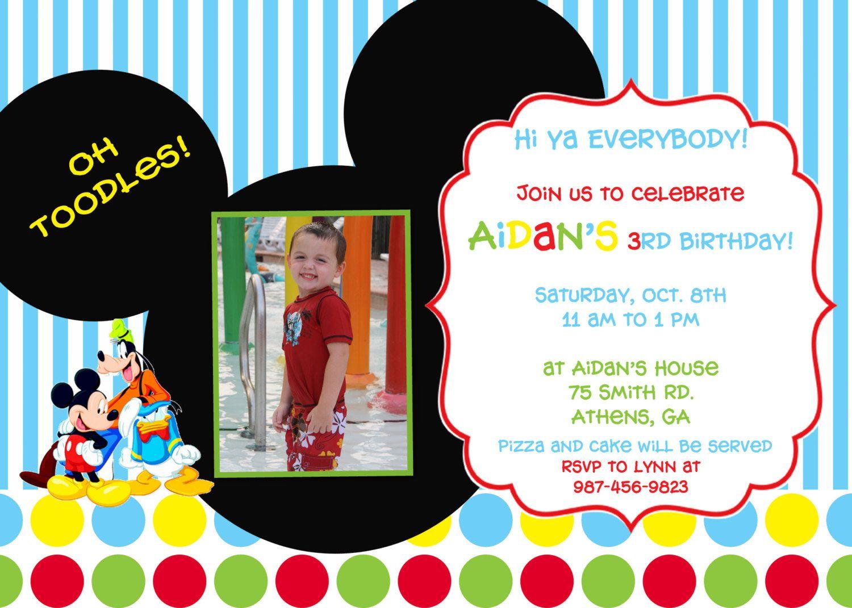 Mickey Mouse Clubhouse Birthday Party Invitation. $10.00, via Etsy ...