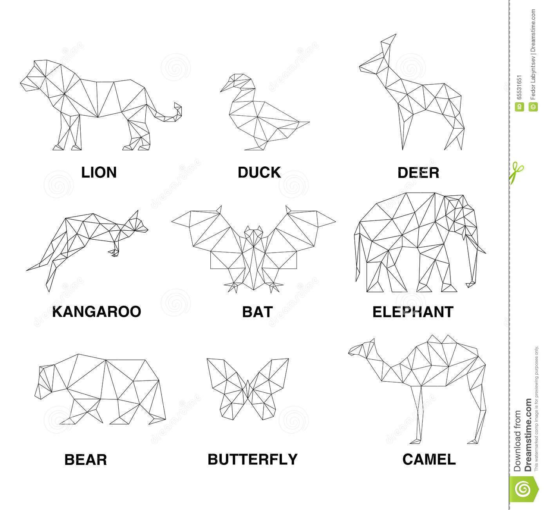 Geometric Animals Silhouettes Set Of Polygons Geometric Animals Geometric Drawing Geometric Tattoo