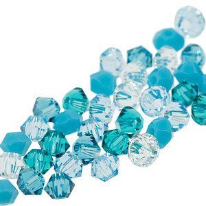 5328 3mm Swarovski Elements Crystal Mix - Aquadesiac   Fusion Beads