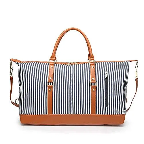 Womens Travel Bags Unisex Large Capacity Canvas Plus Leather Portable Weekend Overnight Travel Bag Striped Sports Duffel Tote Luggage Holdall Handbag Shoulder Bags for Men and Women Weekender Overnig