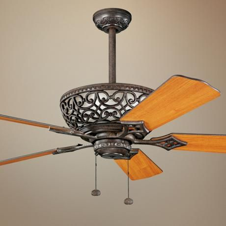 Add some mediterranean flair to a living room or bedroom with the cortez ceiling fan from kichler five reversible walnut cherry finish blades